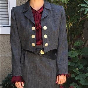Vintage blue/white Yves Saint Lauren wool jacket